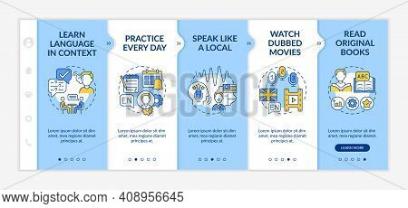 Foreign Learning Language Tips Onboarding Vector Template. Learning In Context. Speaking Like Local.