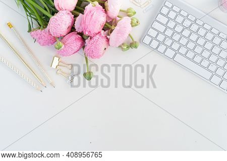 Flat Lay Home Office Workspace - Modern Keyboard With Ranunculus Flowers, Copy Space On White Backgr