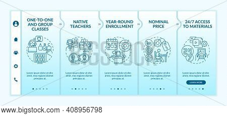Foreign Language Courses Onboarding Vector Template. Native Teachers. Nominal Price. 24 Hour Access.