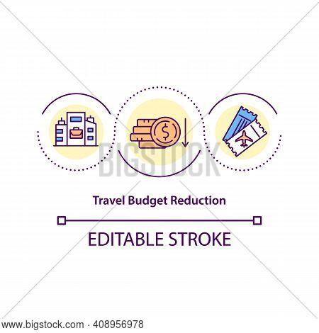 Travel Budget Reduction Concept Icon. Save On Cost Of Employee Business Travel Idea Thin Line Illust