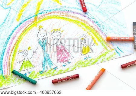 Children's Drawing Of A Family With Pencils. Family Day. Psychology Of Drawing