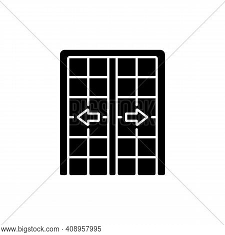 Patio Doors Black Glyph Icon. Sliding Glass Door. Architecture, Construction. Large Glass Window Ope