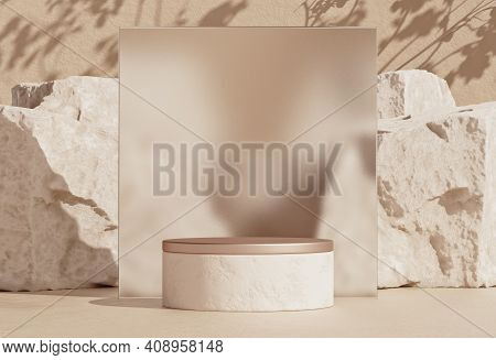 Mockup Empty Stone Podium With Rough Glass Frame. Minimal Background For Branding And Product Presen