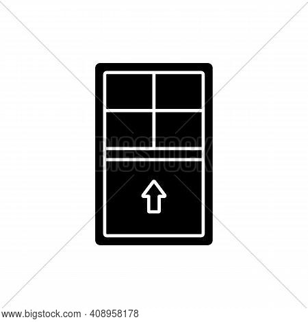 Single-hung Windows Black Glyph Icon. Single Movable Sash With Raise From Bottom. Natural Ventilatio