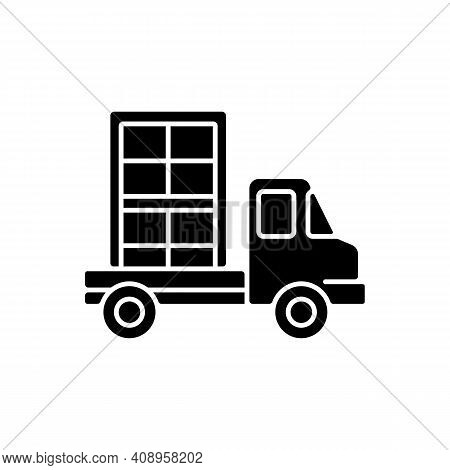 Window Delivery Black Glyph Icon. Customer Service. Delivering Building Materials On Residential Con