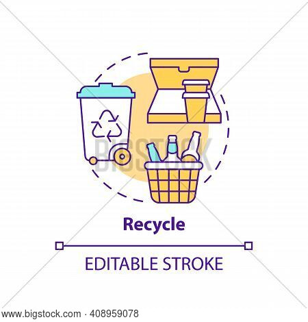 Recycle Concept Icon. Bin For Items Idea Thin Line Illustration. Need To Be Recycled. Paper, Plastic