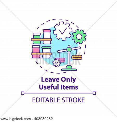Leave Only Useful Items Concept Icon. Go Through Things In House Idea Thin Line Illustration. Weigh