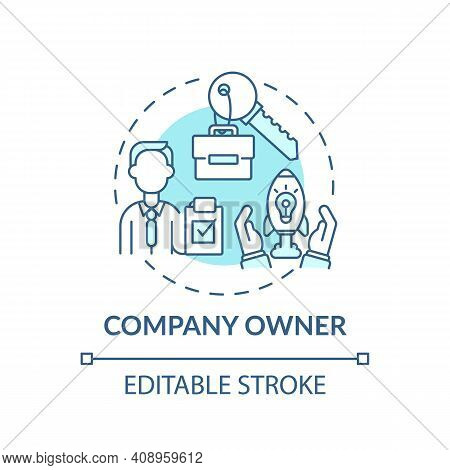 Company Owner Concept Icon. Company Top Management Jobs. Person Owning All Company Assets. Company I