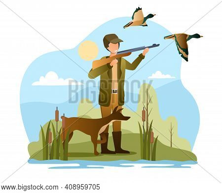 Male Hunter With Dog Is Trying To Shoot Ducks. Concept Of Duck Hunting. Man In Hunter Clothes Is Hol