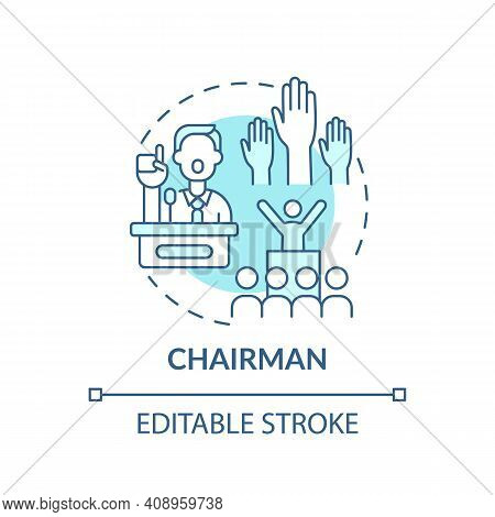 Chairman Concept Icon. Top Management Positions. Ensure That Meetings Run Properly. Company Owner Id
