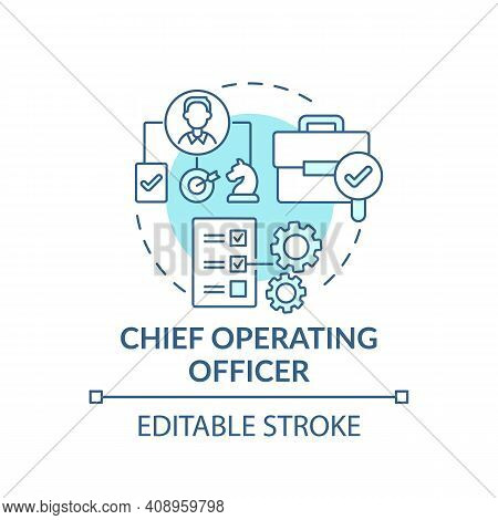 Chief Operating Officer Concept Icon. Top Management Positions. Check Administrative Functions Of Co