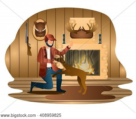 Male Hunter Is Teaching His Dog In Wood House. Hunter With Dog. Man Is Playing With His Dog With Fir