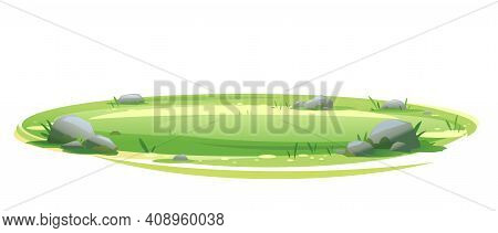 Empty Green Lawn With Grass And Stones Isolated, Summer Sunny Oval Glade, Empty Glade Template, Plac