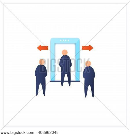 Passenger Processing Flat Icon. Decentralise Passengers Processing. Moving Security Screening To Ext