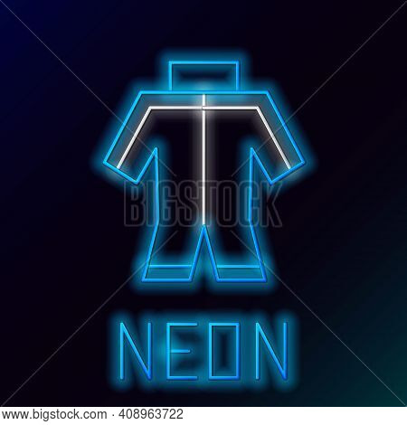 Glowing Neon Line Wetsuit For Scuba Diving Icon Isolated On Black Background. Diving Underwater Equi