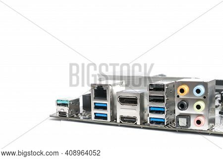 Motherboard Rear Ports And Connectors Isolated On White Background With Copy Space