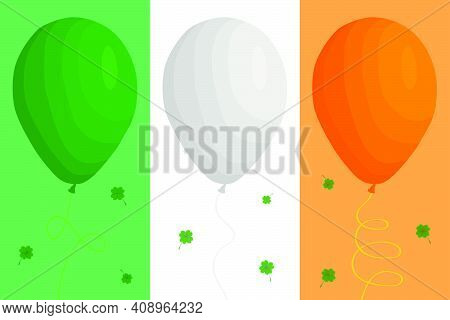 Irish Holiday St Patrick Day, Big Set Bright Helium Balloons. Pattern St Patrick Day Consisting Of D