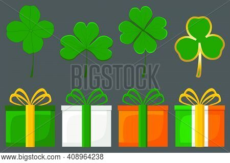 Irish Holiday St Patrick Day, Big Set Gift Boxes With Ribbon. Pattern St Patrick Day Consisting Of M