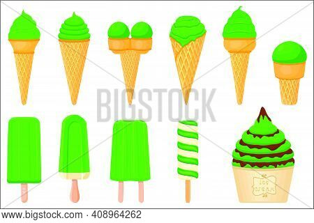 Illustration On Theme Irish Holiday St Patrick Day, Big Set Icecream. Pattern St Patrick Day Consist