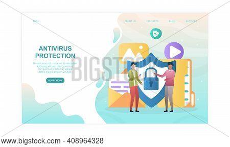 Antivirus Protection Abstract Concept. Flat Cartoon Vector Illustration. Website, Web Page, Landing