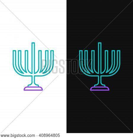 Line Hanukkah Menorah Icon Isolated On White And Black Background. Hanukkah Traditional Symbol. Holi