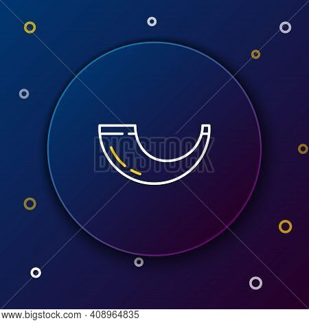 Line Traditional Ram Horn, Shofar Icon Isolated On Blue Background. Rosh Hashanah, Jewish New Year H