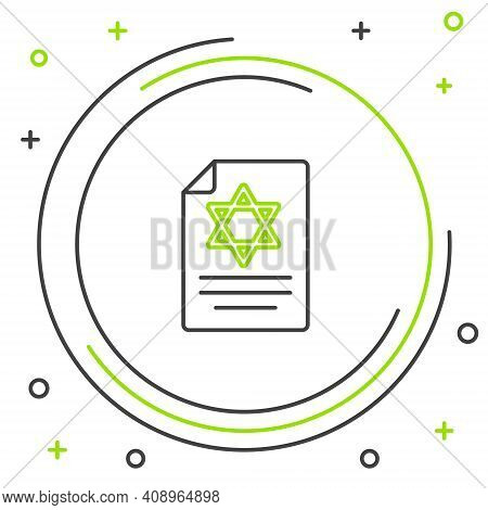 Line Torah Scroll Icon Isolated On White Background. Jewish Torah In Expanded Form. Star Of David Sy