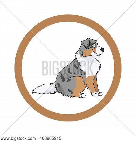 Cute Cartoon Australian Shepherd In Circle Dog Vector Clipart. Pedigree Kennel Doggie Breed For Kenn