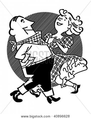 Square Dancing Couple - Retro Clipart Illustration