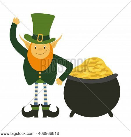 Leprechaun With Pot Of Gold. St Patricks Day Cartoon Character In Green Hat Lean On Cauldron With Go