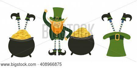 Set Of Cute Leprechauns. Design Element On Saint Patrick's Day. Leprechauns Legs Stick Out Of The Ha