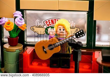 Tambov, Russian Federation - January 03, 2020 Lego Ideas Central Perk Set. Lego Phoebe Buffay Minifi