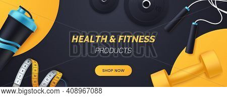 Sports And Fitness Products Banner Design. Flat Lay Composition With Dumbbells, Barbell Plates, Shak