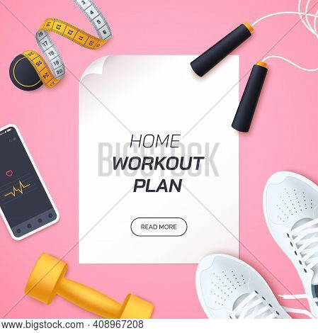 Home Workout Plan Vector Illustration. Flat Lay Composition With White Sports Sneakers, Dumbbells, S