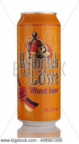 Lviv, Ukraine - July 11, 2020: Heinrich Der Lowe German Beer In A Can