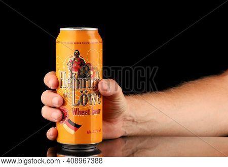 Lviv, Ukraine - July 11, 2020: Heinrich Der Lowe German Beer In A Can In Hand