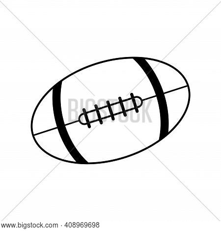 Rugby Ball Icon Design Isolated On White Background, American Football. Black And White Vector Illus
