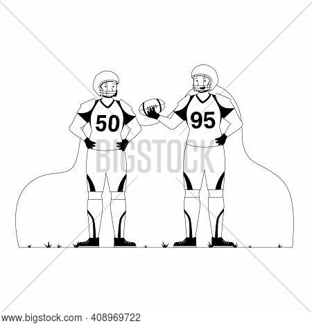 Black And White Illustration American Football On White Background