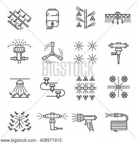 Irrigation Farm Equipment Thin Line Icons Set Isolated On White. Sprinkler, Plant Watering System.