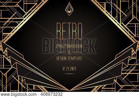 Art Deco Vintage Patterns And Design Elements. Retro Party Geometric Background Set 1920 Style. Vect