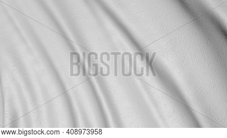 White The Cloth Flutters In 3d. Waves Of Canvas Background Fabric.