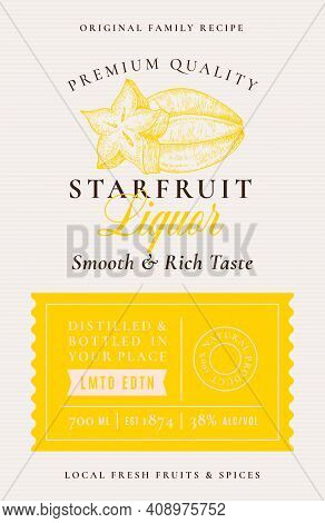 Family Recipe Starfruit Liquor Acohol Label. Abstract Vector Packaging Design Layout. Modern Typogra