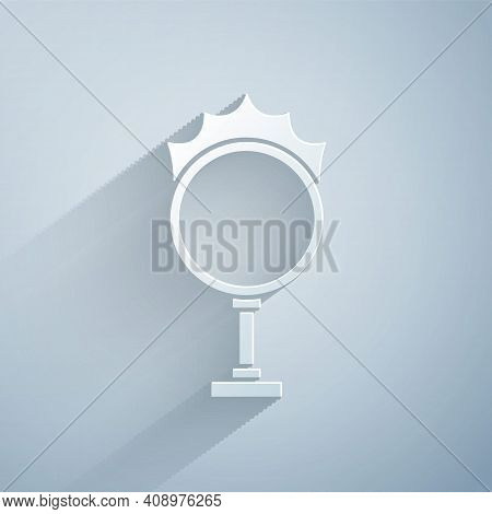 Paper Cut Circus Fire Hoop Icon Isolated On Grey Background. Ring Of Fire Flame. Round Fiery Frame.