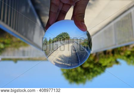 The Walkway On The Top Rampart Captured Through A Lens Ball Near Fort Desoto Park, St Petersburg, Fl