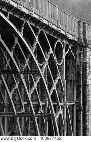 Telford, Uk - February 18, 2013. Detail Of Ironwork On The Iron Bridge, The First Cast Iron Arch Bri