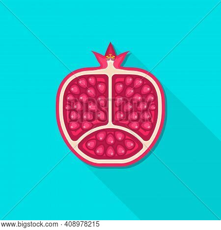 Pomegranate Isolated On Blue Background With Long Shadow. Vector Cut Pomegranate Flat Icon.
