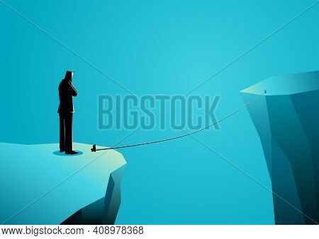 Business Concept Vector Illustration Of A Businessman Standing On The Edge Of Ravine Thinking Or Dou