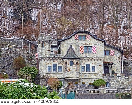 Old Picturesque Stone Town Residential Villa In Weesen Settlement On The Shores Of Lake Walen Or Lak