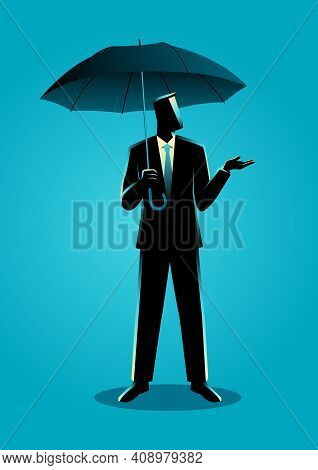 Business Concept Illustration Of A Businessman Holding An Umbrella, Precaution Or Safety Concept