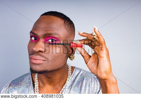 African American Visagist With Pearl Ring On The Finger And Necklace Beads Bijouterie On The Neck We